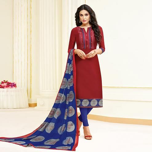 Delightful Maroon Colored Partywear Embroidered Modal Suit