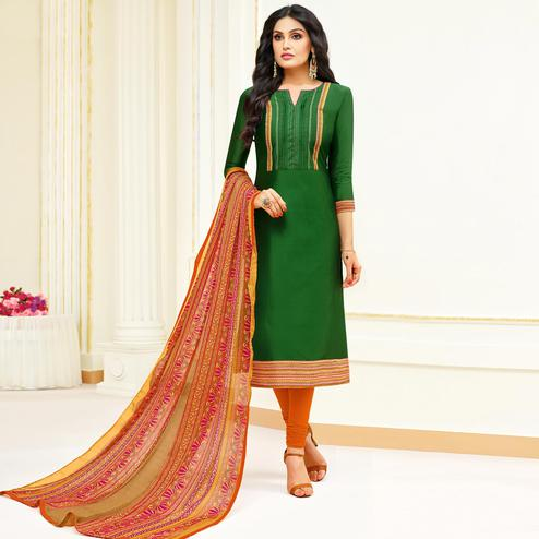 Engrossing Green Colored Partywear Embroidered Modal Suit