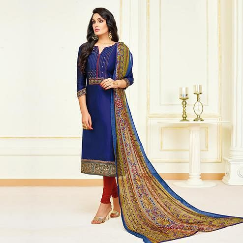 Captivating Navy Blue Colored Partywear Embroidered Modal Suit