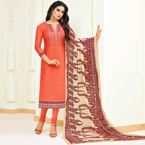 Innovative Peach Colored Partywear Embroidered Modal Suit