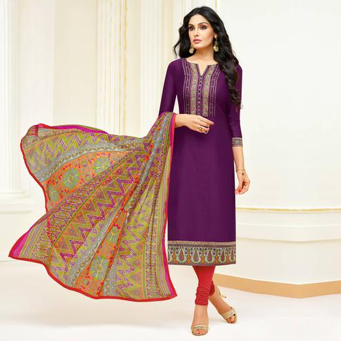 Eye-catching Purple Colored Partywear Embroidered Modal Suit