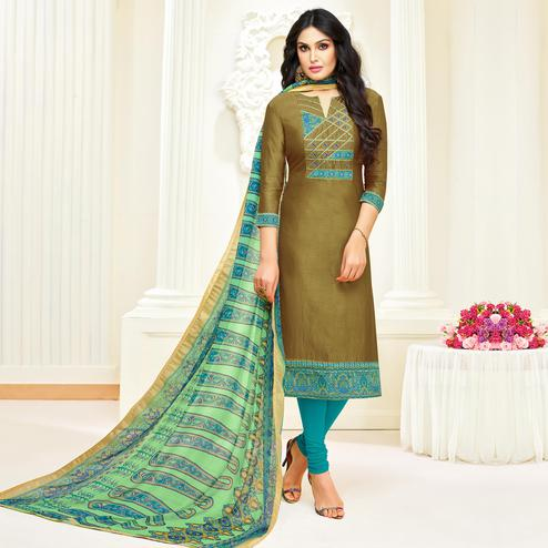 Fantastic Olive Green Colored Partywear Embroidered Modal Suit