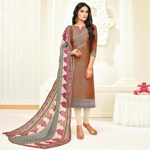 Amazing Brown Colored Partywear Embroidered Modal Suit