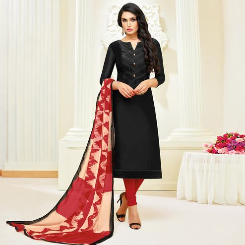 Gorgeous Black Colored Partywear Embroidered Modal Suit