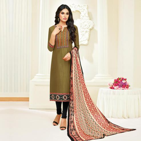 Blissful Olive Green Colored Partywear Embroidered Modal Suit
