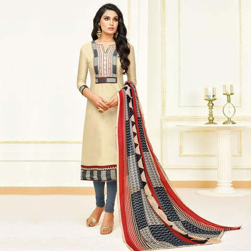 Ideal Cream Colored Partywear Embroidered Modal Suit