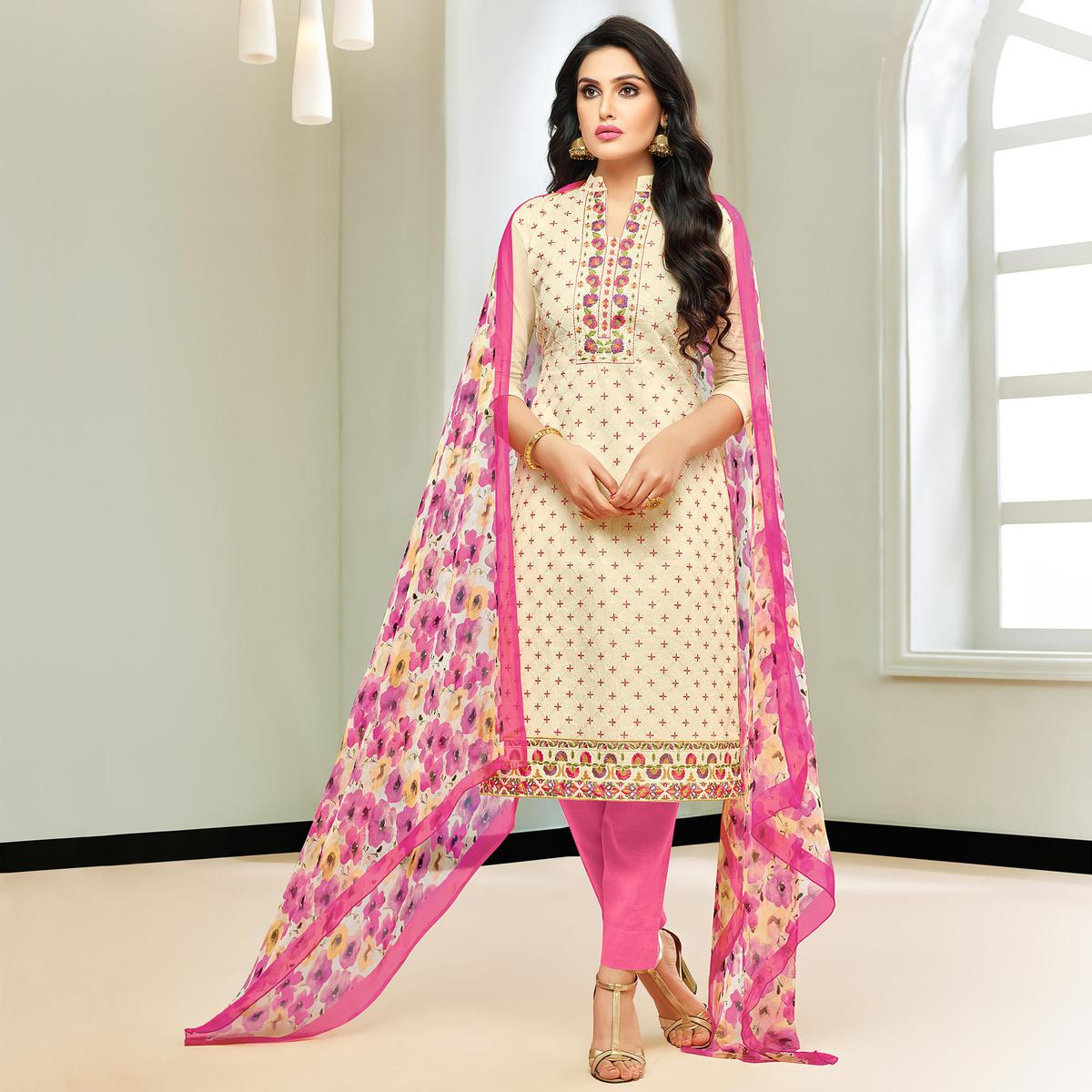 Imposing Cream Colored Partywear Embroidered Modal Silk Suit