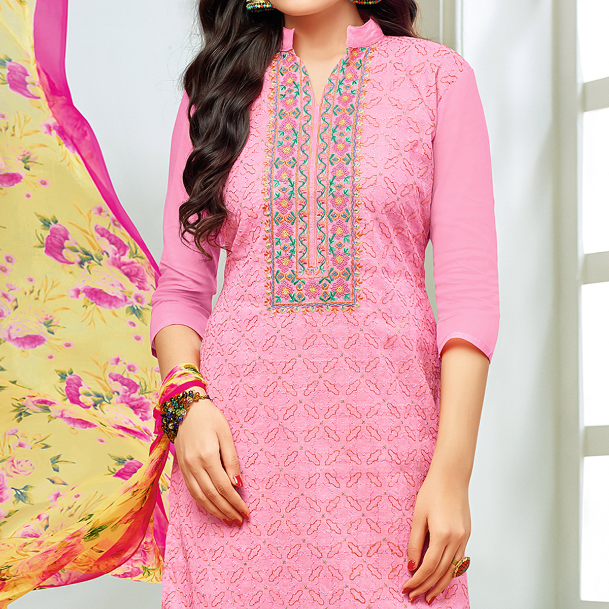 Radiant Pink Colored Partywear Embroidered Modal Silk Suit