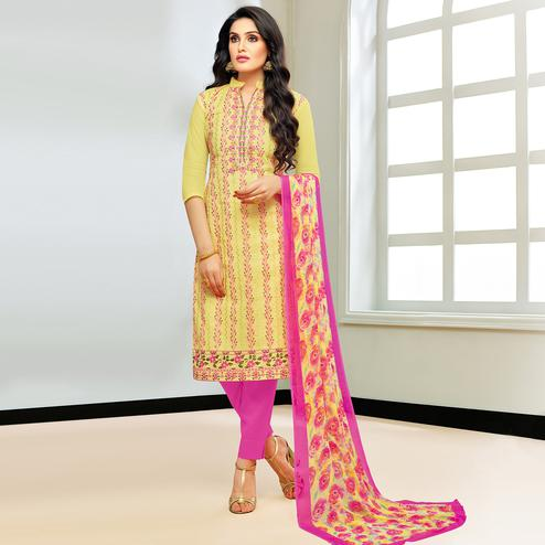 Majesty Yellow Colored Partywear Embroidered Modal Silk Suit