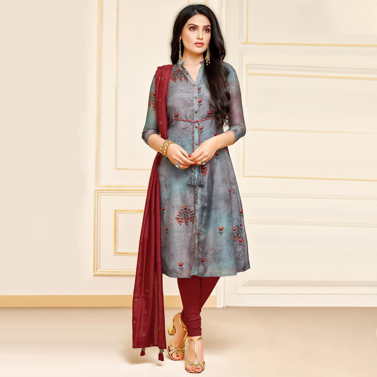 Mesmeric Grey Colored Partywear Digital Printed Muslin Suit