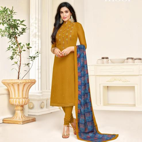 Unique Mustard Yellow Colored Partywear Embroidered Muslin Suit