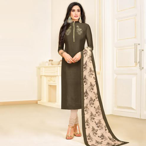 Demanding Dark Grey Colored Partywear Embroidered Muslin Suit
