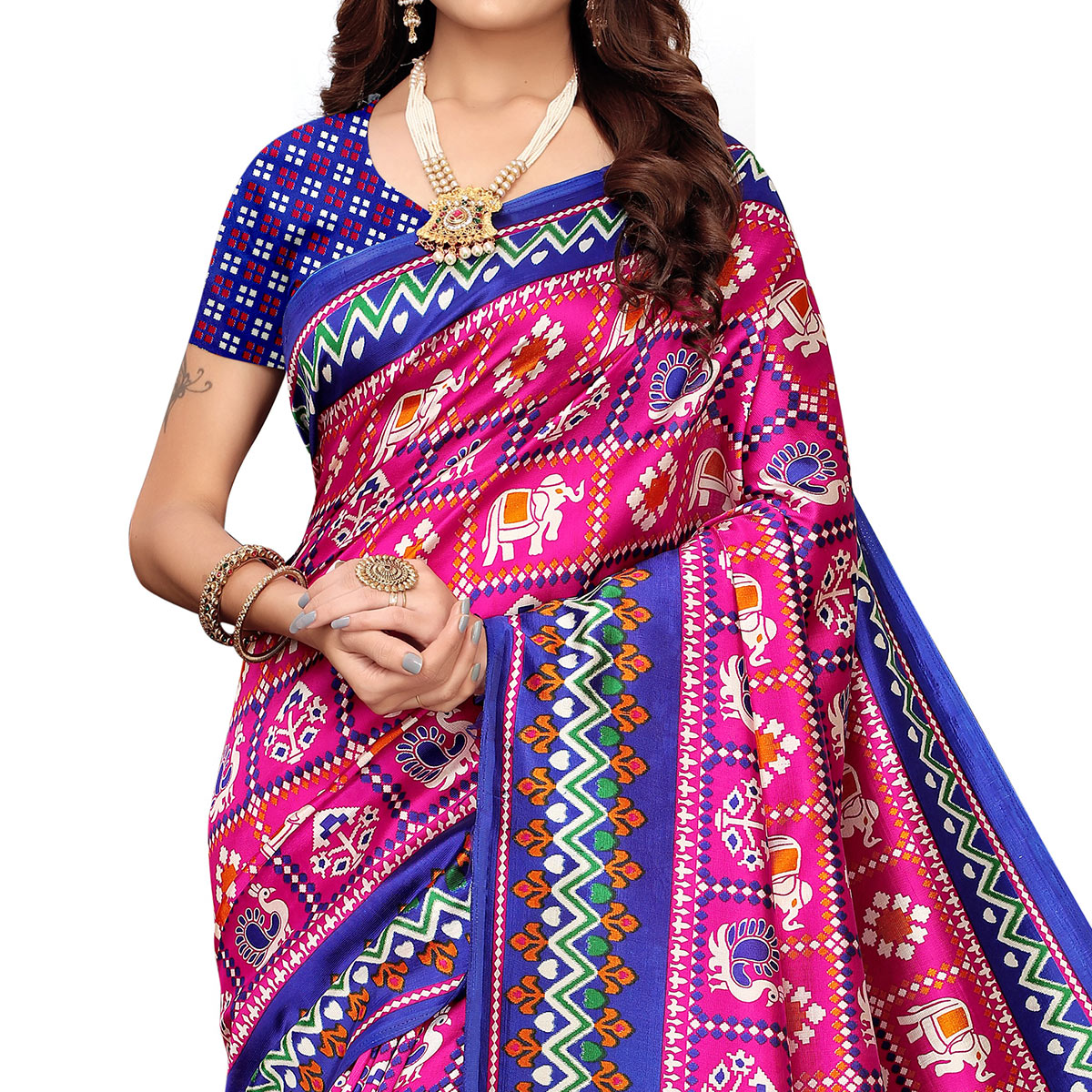 Intricate Pink Colored Festive Wear Printed Art Silk Saree