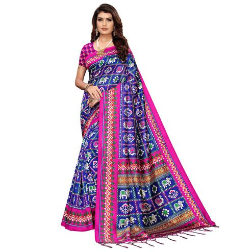 Arresting Blue Colored Festive Wear Printed Art Silk Saree