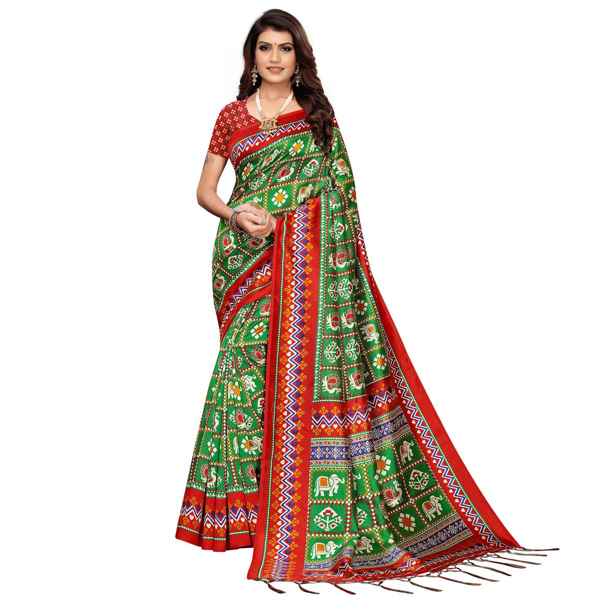 Exotic Green Colored Festive Wear Printed Art Silk Saree