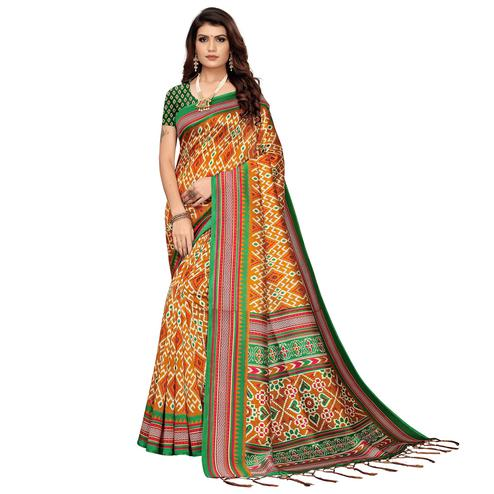 Trendy Orange Colored Festive Wear Printed Art Silk Saree