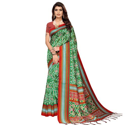 Elegant Green Colored Festive Wear Printed Art Silk Saree