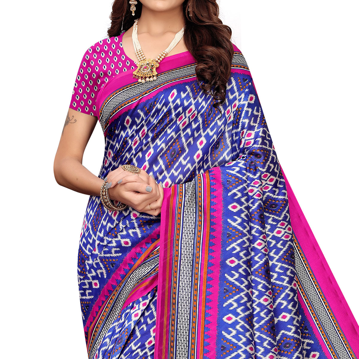 Radiant Purple Colored Festive Wear Printed Art Silk Saree