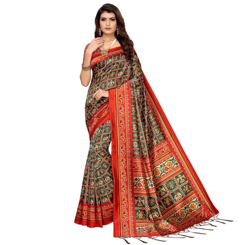 Opulent Green Colored Festive Wear Printed Art Silk Saree