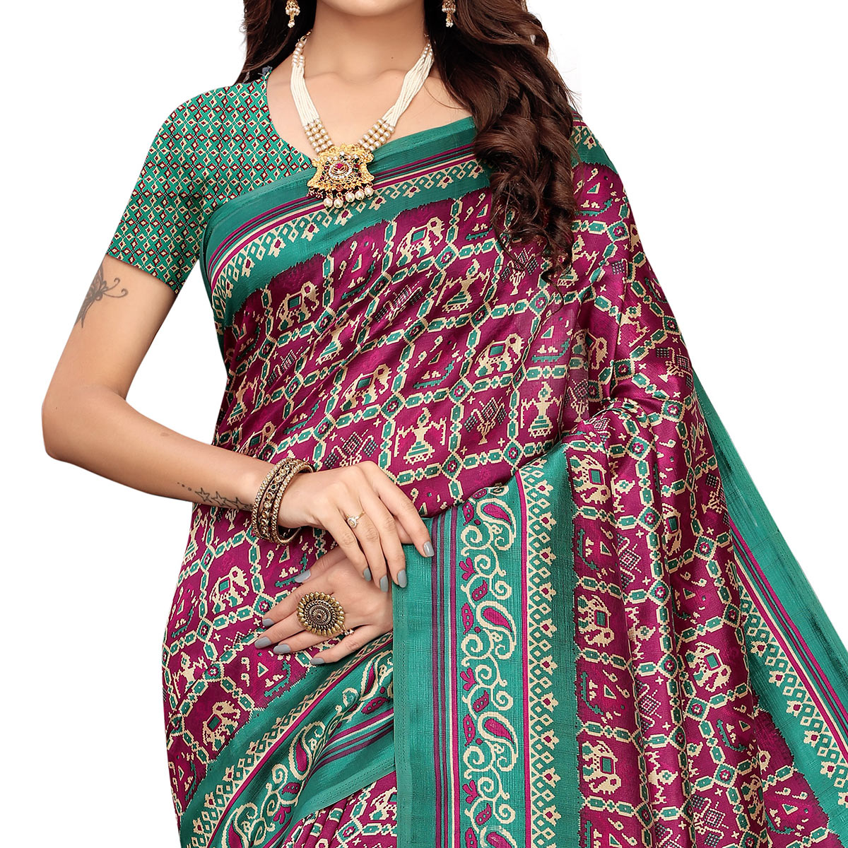 Glowing Magenta Pink Colored Festive Wear Printed Art Silk Saree