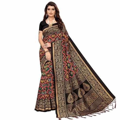 Exceptional Black Colored Festive Wear Printed Art Silk Saree