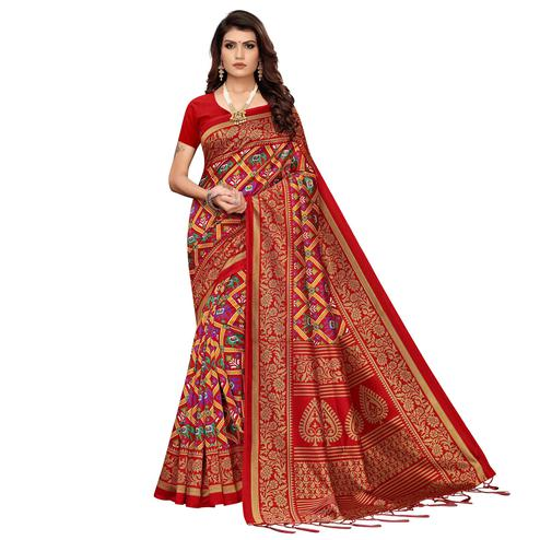 Gleaming Red Colored Festive Wear Printed Art Silk Saree