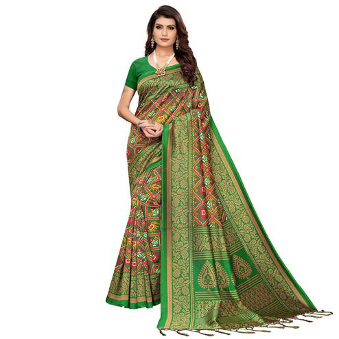 Mesmeric Green Colored Festive Wear Printed Art Silk Saree