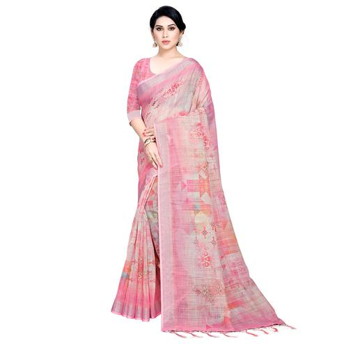 Hypnotic Pink Colored Casual Printed Linen Saree