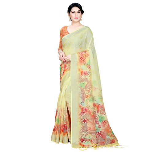 Flattering Yellow Colored Casual Printed Linen Saree