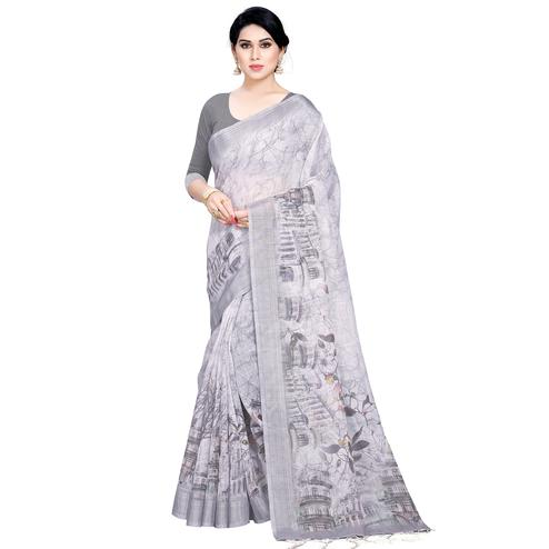 Excellent Grey Colored Casual Printed Linen Saree