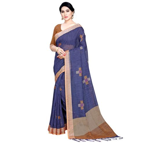 Preferable Navy Blue Colored Casual Printed Linen Saree