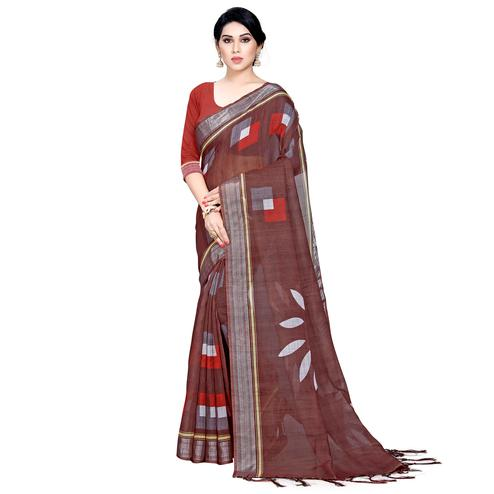 Marvellous Brown Colored Casual Printed Linen Saree