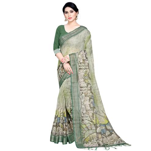 Flaunt Green Colored Casual Printed Linen Saree
