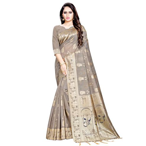 Jazzy Brown Colored Festive Wear Woven Art Silk Saree