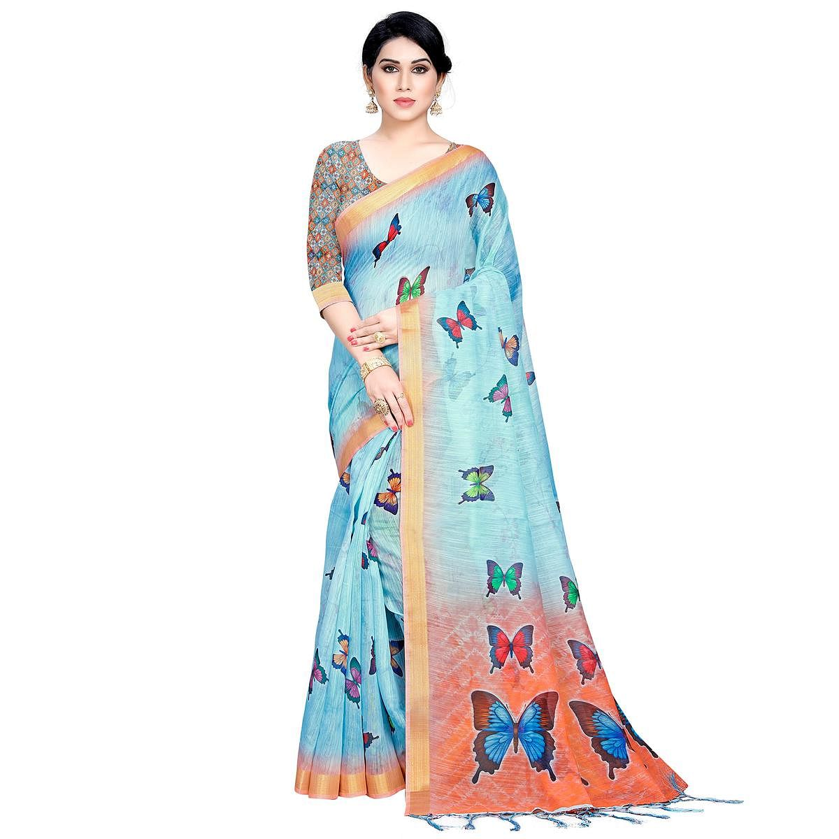 Intricate Sky Blue Colored Casual Printed Linen Saree