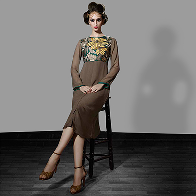 Brown Party Wear Georgette Tunic