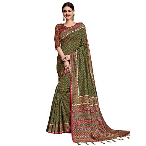 Glorious Green Colored Festive Wear Printed Silk Saree