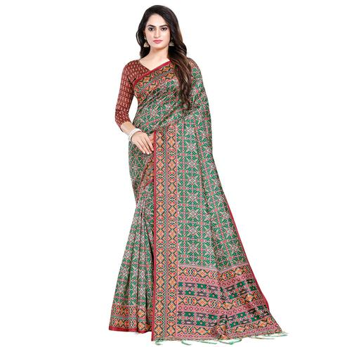Attractive Green Colored Festive Wear Printed Silk Saree