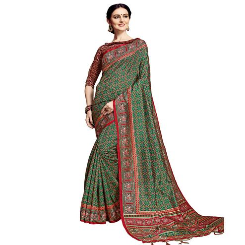 Beautiful Green Colored Festive Wear Printed Silk Saree