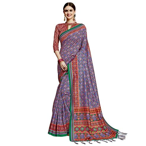 Graceful Blue Colored Festive Wear Printed Silk Saree