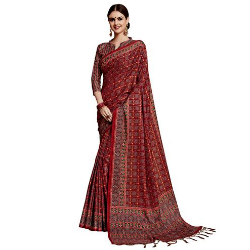 Blooming Maroon Colored Festive Wear Printed Silk Saree