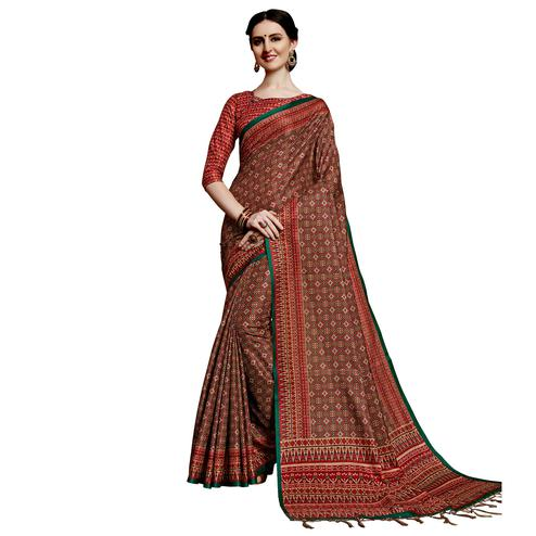 Charming Maroon Colored Festive Wear Printed Silk Saree