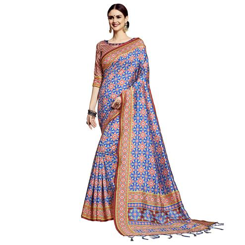 Jazzy Blue Colored Festive Wear Printed Silk Saree
