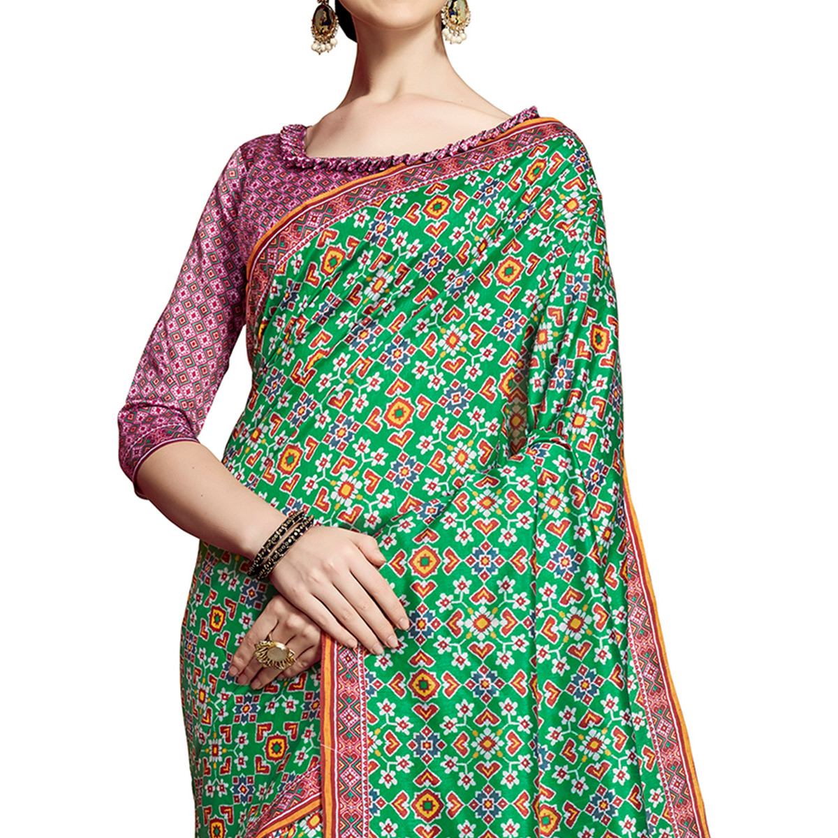 Delightful Green Colored Festive Wear Printed Silk Saree