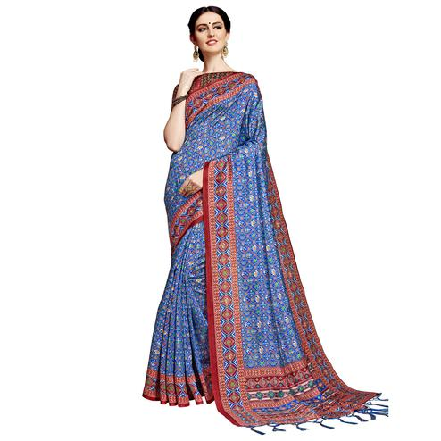 Engrossing Blue Colored Festive Wear Printed Silk Saree