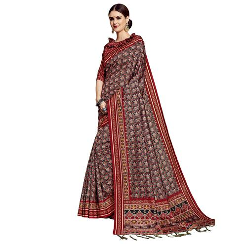 Captivating Black-Maroon Colored Festive Wear Printed Silk Saree