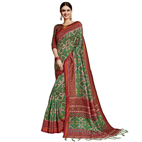 Innovative Green Colored Festive Wear Printed Silk Saree
