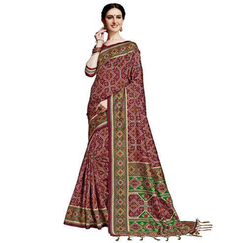 Eye-catching Maroon Colored Festive Wear Printed Silk Saree