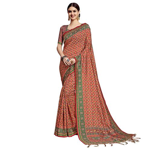 Fantastic Maroon Colored Festive Wear Printed Silk Saree