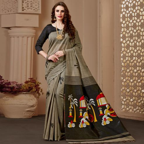 Excellent Chiku-Black Colored Festive Wear Woven Art Silk Saree